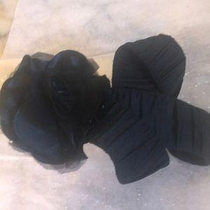 Ladies Fabric Stretch Elastic Belt Black Rose